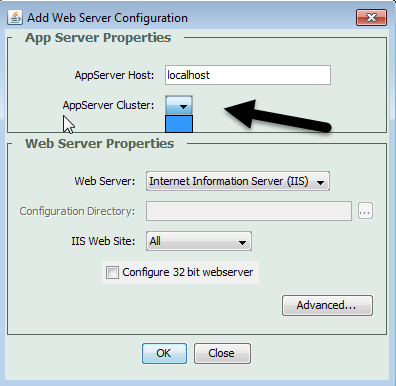 The CF web server config tool UI