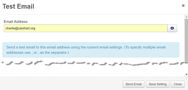 FR 7.3 test email 'save settings' page